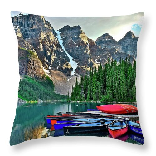 Lake Throw Pillow featuring the photograph Mountain Tranquility by Frozen in Time Fine Art Photography