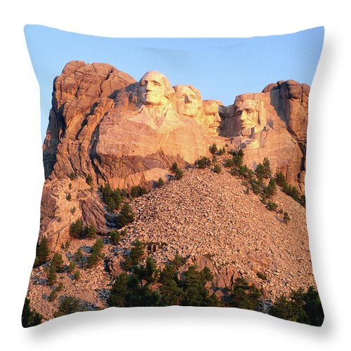 Mt Rushmore National Monument Throw Pillow featuring the photograph Mt Rushmore Memorial Carvings by John Elk