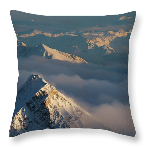 Scenics Throw Pillow featuring the photograph Mt. Zugspitze 6 - Bavaria Germany by Wingmar