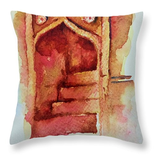 Water Color Throw Pillow featuring the painting Mughal Architecture, Staircase by Devraj Reddy