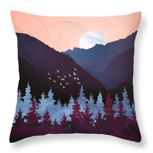 Digital Throw Pillow featuring the digital art Mulberry Dusk by Spacefrog Designs