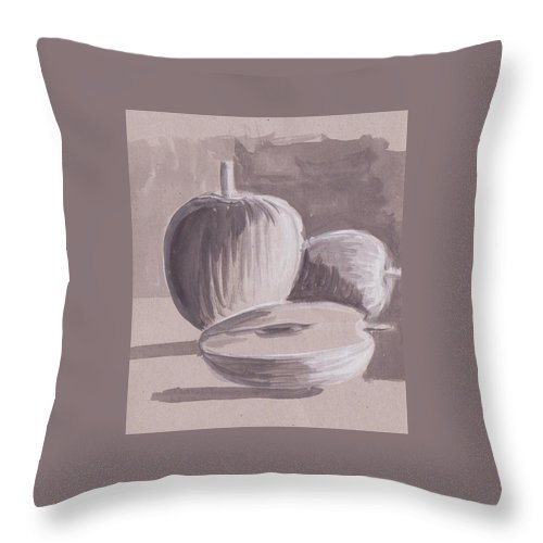 Water Color On Paper Throw Pillow featuring the drawing My Apples by Mustafa Attari