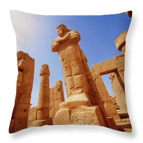 Art Throw Pillow featuring the photograph Mysterious Ancient Temple Ruins In Egypt by Fds111