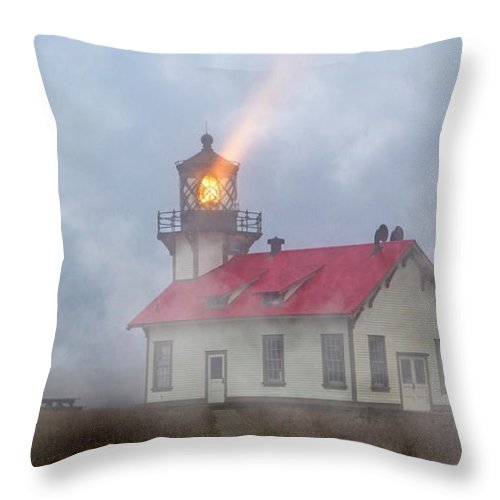 Lighthouse Throw Pillow featuring the photograph Mystical Point Cabrillo Lighthouse California by Betsy Knapp