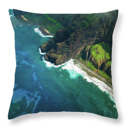 Scenics Throw Pillow featuring the photograph Na Pali Coast Kauai Island Hawaiian by Mlenny