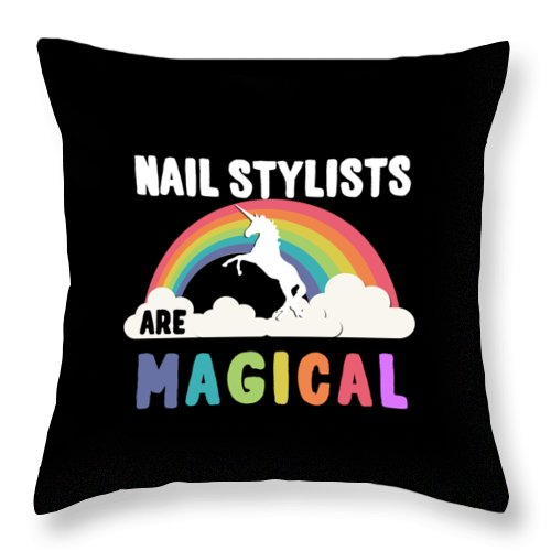 Unicorn Throw Pillow featuring the digital art Nail Stylists Are Magical by Flippin Sweet Gear