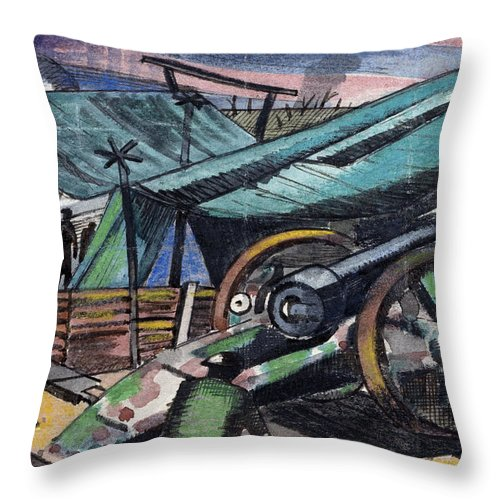 B1019 Throw Pillow featuring the painting A Howitzer Firing, 1918 by Paul Nash
