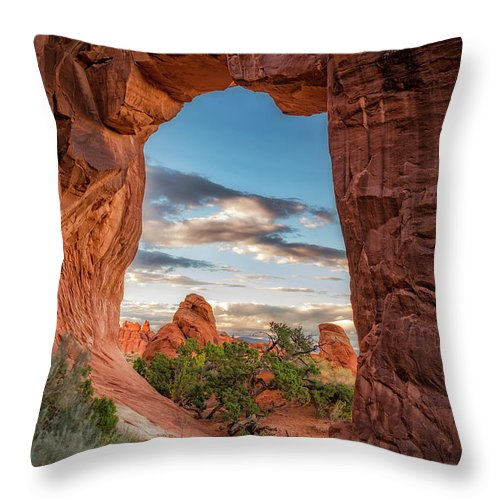 Arch Throw Pillow featuring the photograph Nature's Picture Frame by Marybeth Kiczenski