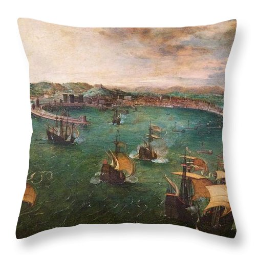 1560 Throw Pillow featuring the photograph Naval Battle In The Gulf Of Naples by Peter Barritt