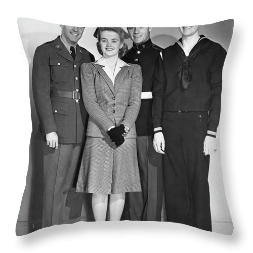 People Throw Pillow featuring the photograph Navy, Marine, Army Officers by George Marks