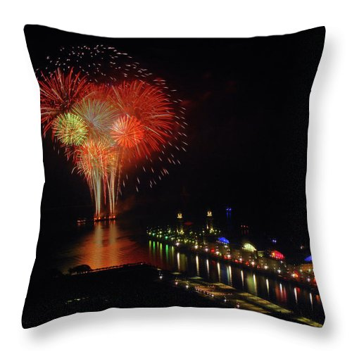 Firework Display Throw Pillow featuring the photograph Navy Pier Fireworks by Image By Douglas R. Siefken