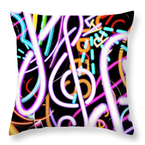 Retro Throw Pillow featuring the photograph Neon Dance by Jorgo Photography - Wall Art Gallery