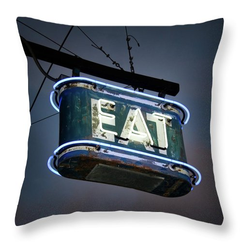 Hanging Throw Pillow featuring the photograph Neon Eat Sign by Kjohansen