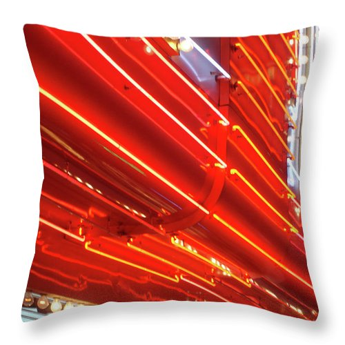 Downtown District Throw Pillow featuring the photograph Neon Lights Downtown Las Vegas by Jill Tindall