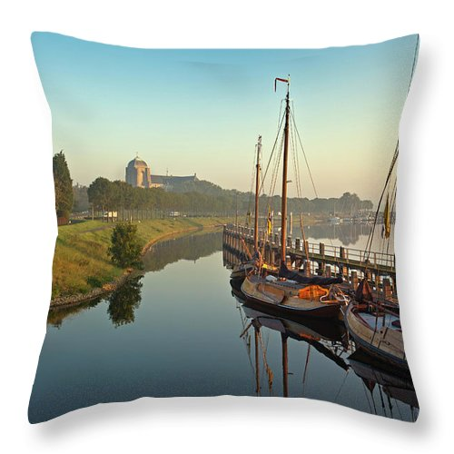 Sailboat Throw Pillow featuring the photograph Netherlands, Veere, Harbour by Frans Lemmens