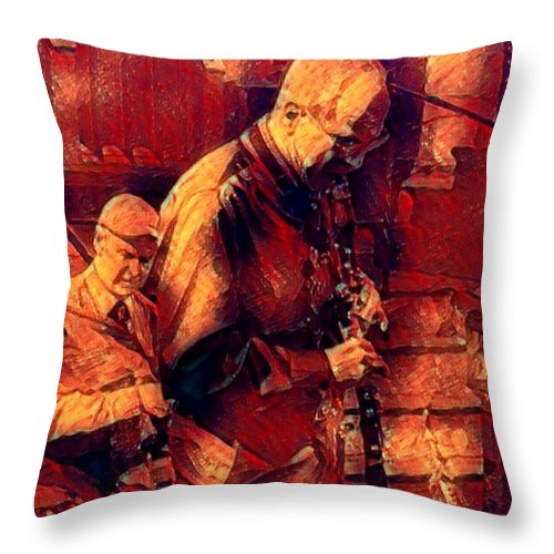 New Black Eagle Jazz Band Throw Pillow featuring the mixed media New Black Eagle Jazz Band - Bill And Billy by Marshall Thomas