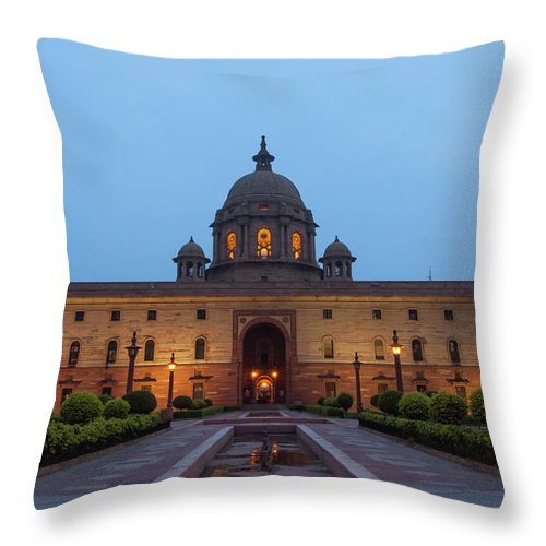 New Delhi Throw Pillow featuring the photograph New Delhi President House At Night by Prognone