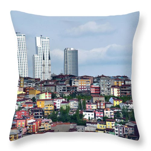 Istanbul Throw Pillow featuring the photograph New Istanbul by Alain Bachellier