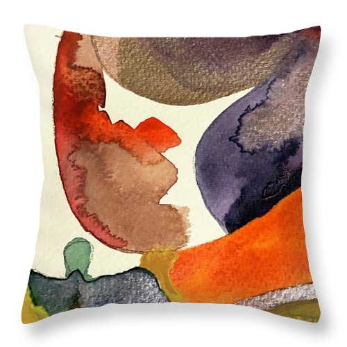 Watercolors Throw Pillow featuring the painting New Moon Landscape by Ceil Diskin