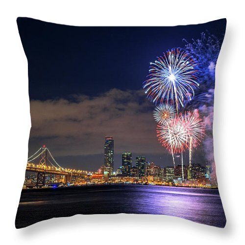 Firework Display Throw Pillow featuring the photograph New Year Fireworks by Piriya Photography
