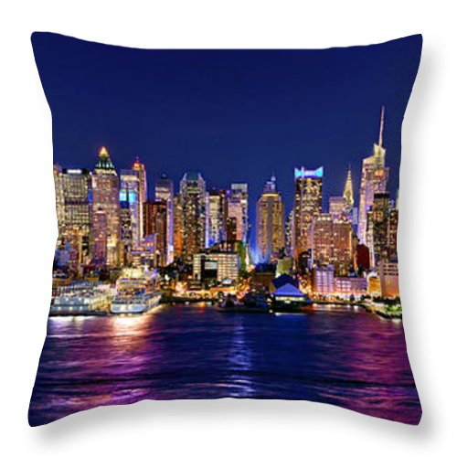New York City Skyline At Night Throw Pillow featuring the photograph New York City Nyc Midtown Manhattan At Night by Jon Holiday