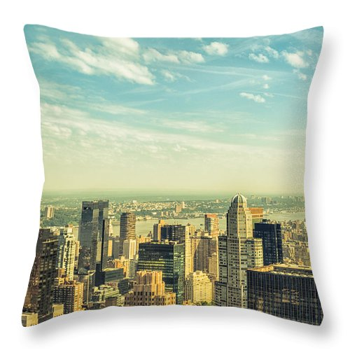 Lower Manhattan Throw Pillow featuring the photograph New York City Skyline With Central Park by Franckreporter