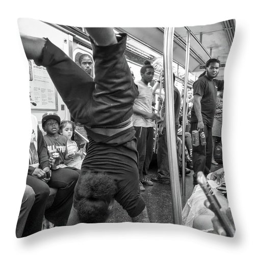 Black & White Throw Pillow featuring the photograph New York Moment by Resa Sunshine