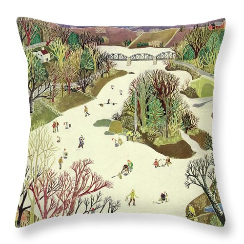 Illustration Throw Pillow featuring the painting New Yorker January 16th 1943 by Ilonka Karasz