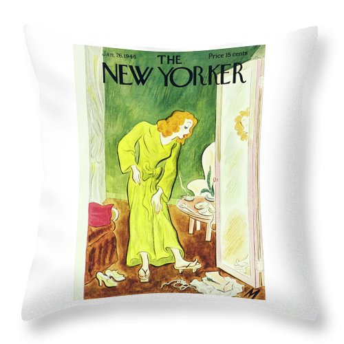 Fashion Throw Pillow featuring the painting New Yorker January 26, 1946 by Julian De Miskey