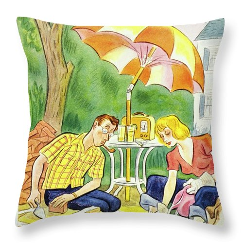 Illustration Throw Pillow featuring the painting New Yorker July 12th 1947 by Julian De Miskey