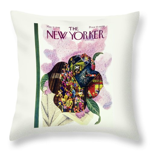 Illustration Throw Pillow featuring the painting New Yorker May 18 1946 by Ilonka Karasz