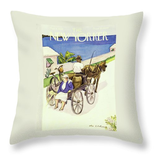 Illustration Throw Pillow featuring the painting New Yorker May 4 1946 by Helene E Hokinson
