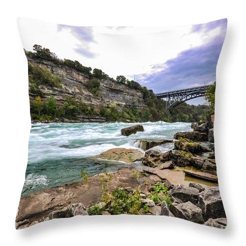 The Whirpool Throw Pillow featuring the photograph Niagara by Roberto Cislaghi