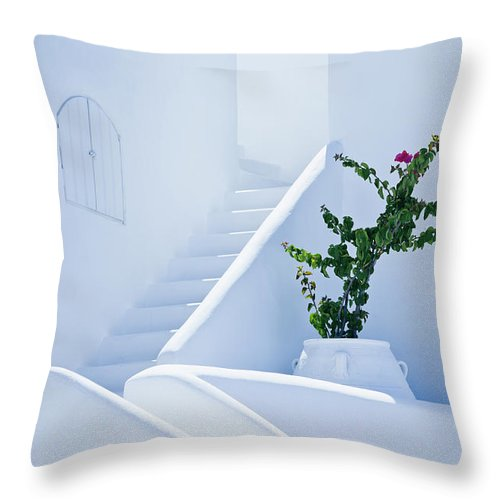 Steps Throw Pillow featuring the photograph Nice White Stairs In Oia Village by Mbbirdy