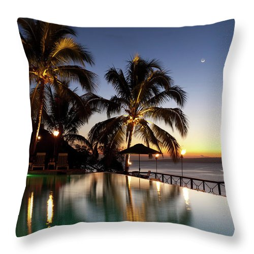 Swimming Pool Throw Pillow featuring the photograph Nightfall At Iririki Island, Vanuatu by Holgs