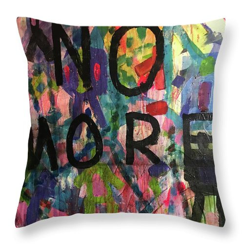 Abstract Throw Pillow featuring the painting No More by Russell Simmons