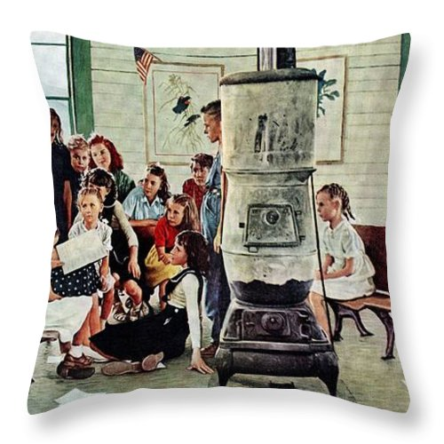 Book Throw Pillow featuring the drawing Norman Rockwell Visits A Country School by Norman Rockwell