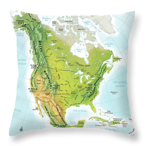 Compass Rose Throw Pillow featuring the digital art North America Continent Map, Relief by Globe Turner, Llc