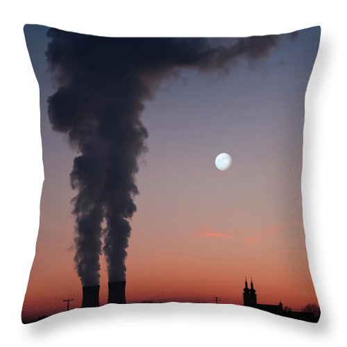 Air Pollution Throw Pillow featuring the photograph Nuclear Power Station In Bavaria by Michael Kohaupt