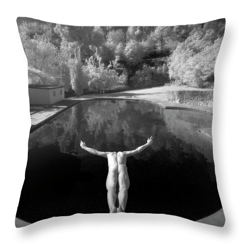 Diving Into Water Throw Pillow featuring the photograph Nude Male Diving Into Dark Poolicarus by Ed Freeman