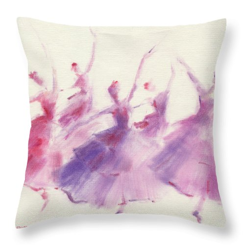 Ballet Throw Pillow featuring the painting Nutcracker Ballet Waltz of the Flowers by Beverly Brown Prints
