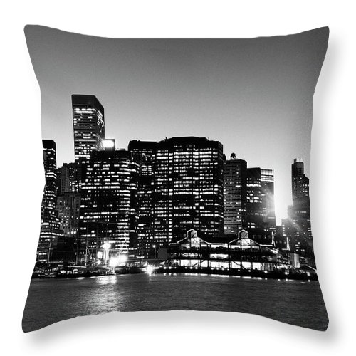 Lower Manhattan Throw Pillow featuring the photograph Nyc Skyline At Sunset by Lisa-blue
