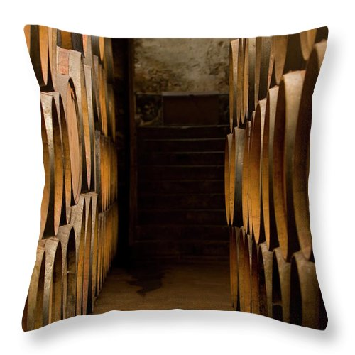 Alcohol Throw Pillow featuring the photograph Oak Barrels At The Wine Cellar by Kycstudio