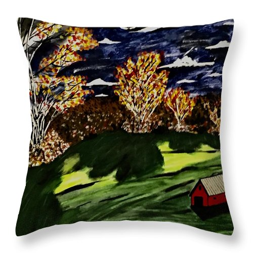 Autumn Throw Pillow featuring the painting October Moon Shadow by Jeffrey Koss