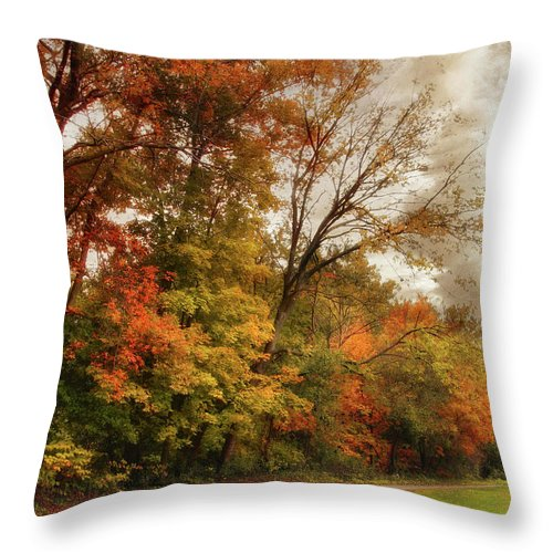 Autumn Throw Pillow featuring the photograph October Skies by Jessica Jenney