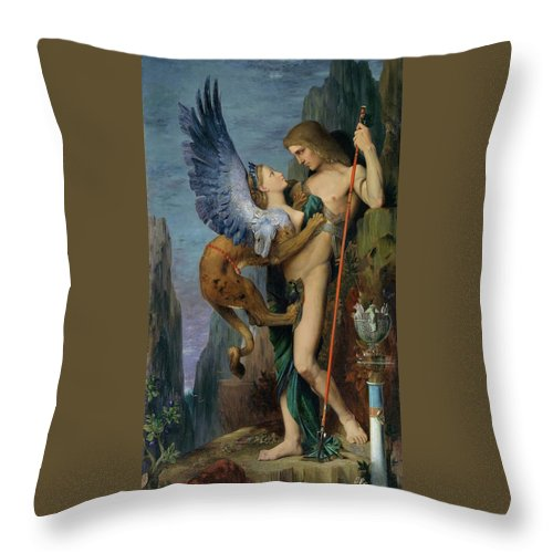 Gustave Moreau Throw Pillow featuring the painting Oedipus And The Sphinx - Digital Remastered Edition by Gustave Moreau