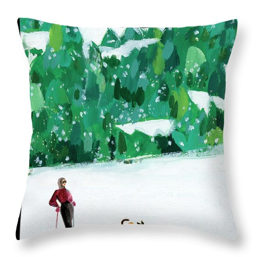 Skiing Throw Pillow featuring the painting Off The Path by Gayle Kabaker