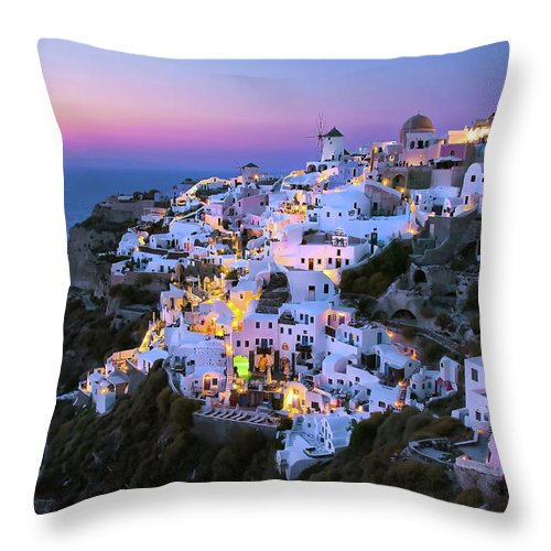 Greek Culture Throw Pillow featuring the photograph Oia Lights At Sunset by Greg Gibb Photography