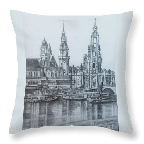 Old Dresden Throw Pillow featuring the drawing Old City Of Dresden- Dresden by Mohammad Hayssam Kattaa