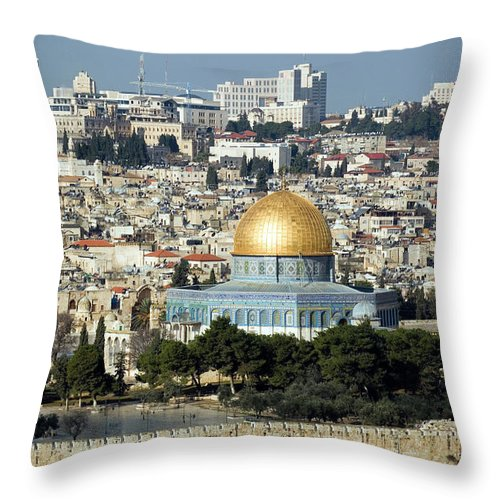 Scenics Throw Pillow featuring the photograph Old City Of Jerusalem by Claudiad